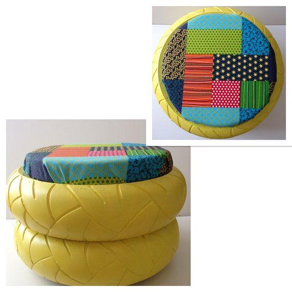 beautiful pouf patchwork en pneu recycl with pouf avec pneu et corde. Black Bedroom Furniture Sets. Home Design Ideas
