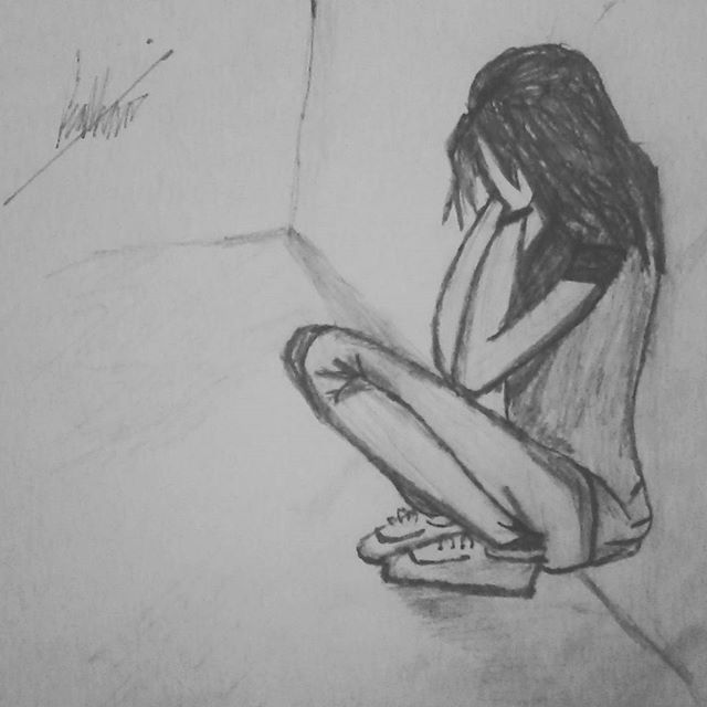 Depressed person drawing