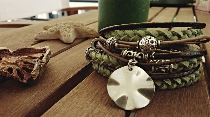 Triple row boheme bracelet with green suede cord and leather. Free Shipping. by Bohemicin on Etsy
