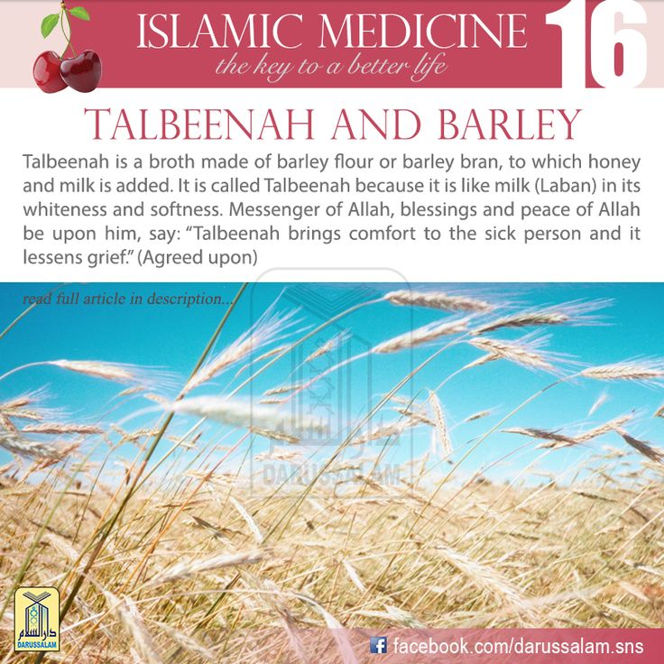"""Al-Muwaffaq Al-Baghdadi said, """"If you want to know the benefits of Talbeenah, then think of the benefits of barley water, especially if it is made of bran. There is nothing more beneficial than broth for one who eats a lot of barley. As for the one who eats a lot of wheat, the best thing for him when he is sick is barley broth.""""  #DarussalamPublishers #IslamicMedicine ~Amatullah♥"""