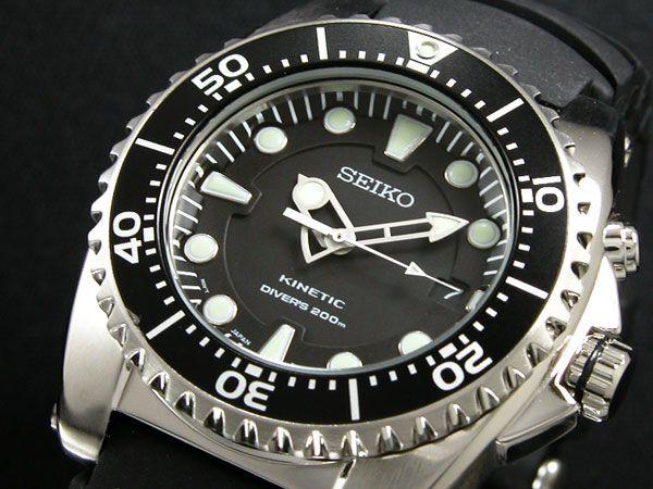 Montre de plongée Seiko Diver Kinetic, fonctionnant grâce à l'énergie cinétique, bracelet caoutchouc.