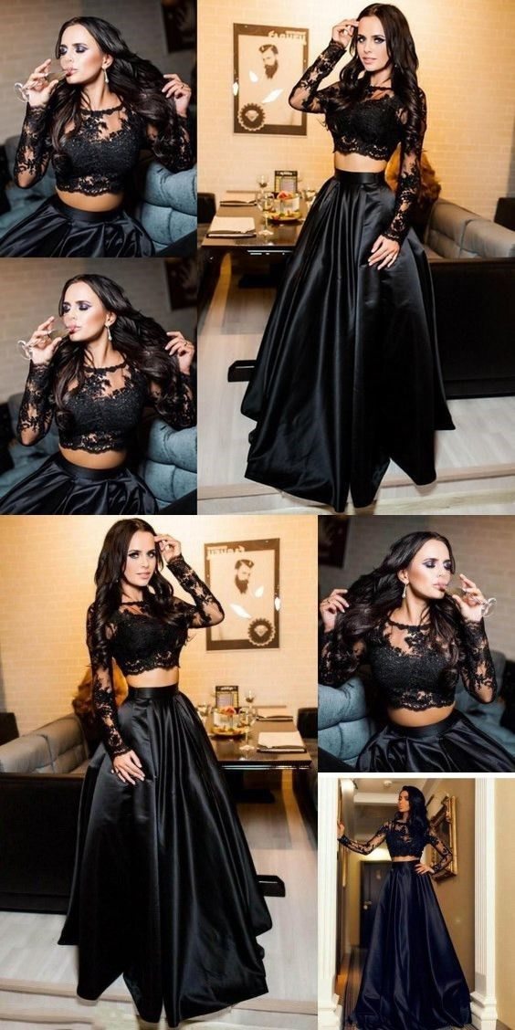 b0690b1430899 elegant two piece black prom dress, fashion A-line black satin long party  dress with lace, chic 2 piece long sleeves evening dress