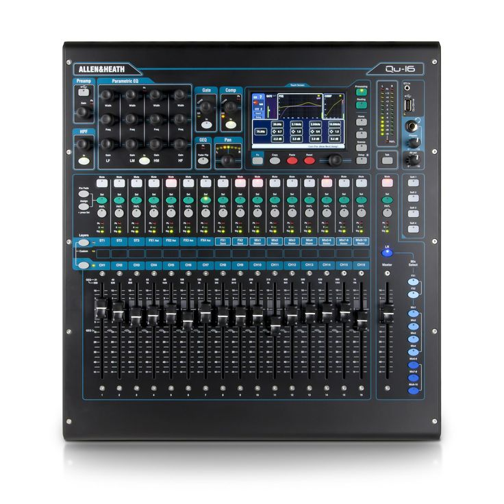 Allen & Heath Qu16 - 16 Mono Inputs (TRS + XLR) - 3 Stereo Inputs (TRS) - 4 Stereo FX Returns - 16 Busses - 12 Mix Outputs (LR, Mono Mix 1-4, Stereo Mix 1-3) - 4 FX Engines - Multitrack Recording / Playback on USB drives - DAW MIDI Control - Trim, polarity, HPF, gate, insert, 4-band PEQ, compressor and delay on all Inputs - Insert, 1/3 octave GEQ, compressor and delay on Main LR and Mono Mix outputs - Insert, 4-band PEQ, compressor and delay on Stereo Mix outputs.