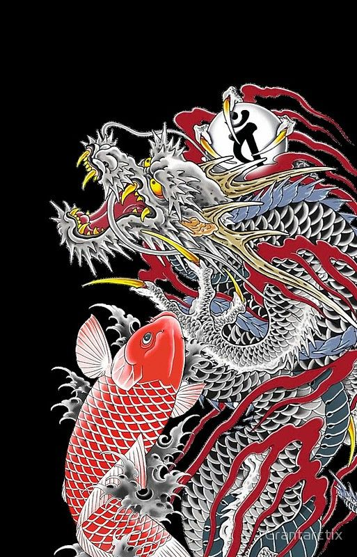Dragon and Koi Yakuza Dragon artwork, Japanese tattoo