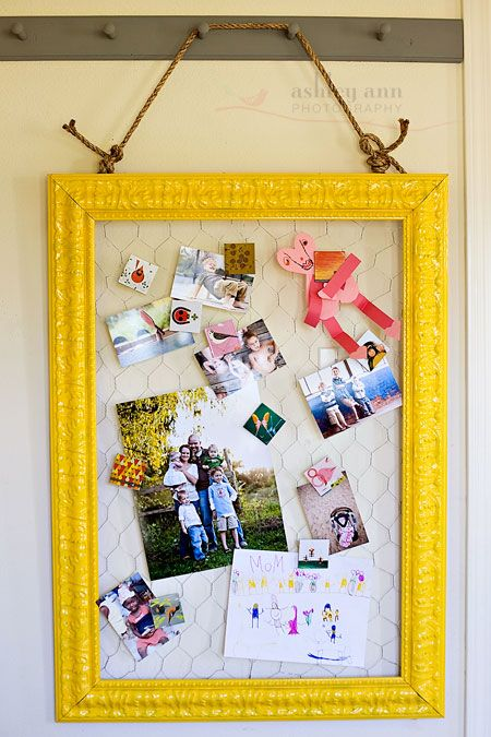 chicken wire frame-love the bright yellow