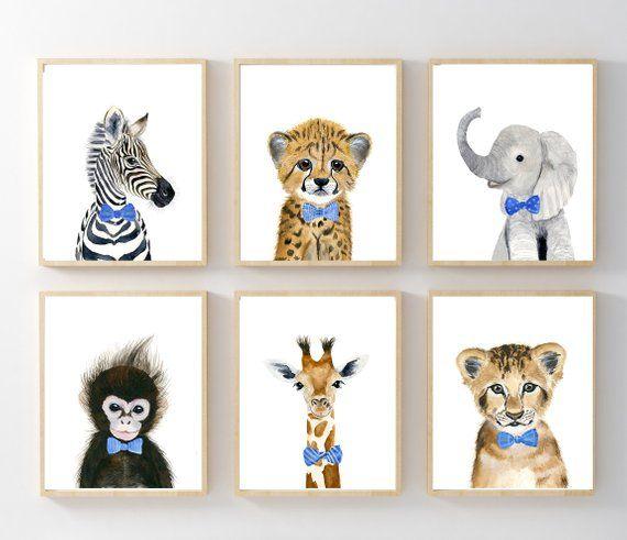 Giraffe Nursery print Safari animal art Elephant nursery print Set of 3 prints Safari Nursery wall art Nursery decor Blue wall art