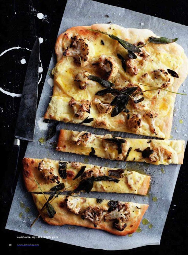 cauliflower, sage & raclette pizza.  donna hay
