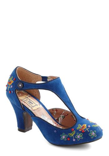 Vivid Visit Heel by Miss L Fire - Blue, Multi, Embroidery, Flower, Mid, Floral, Beads, Party, Vintage Inspired, 20s, Folk Art - sweet shoe!!