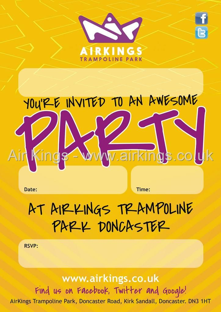 Book a great party at AK - all the info is here https://www.airkings.co.uk/party.aspx plus Download invites too.