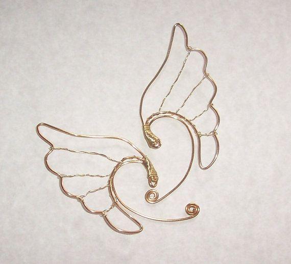 Elf Ear Cuffs - Valkyrie Wings - Gold - Heathen Jewelry - Elf Ear Earrings -  Viking Jewelry - Freya