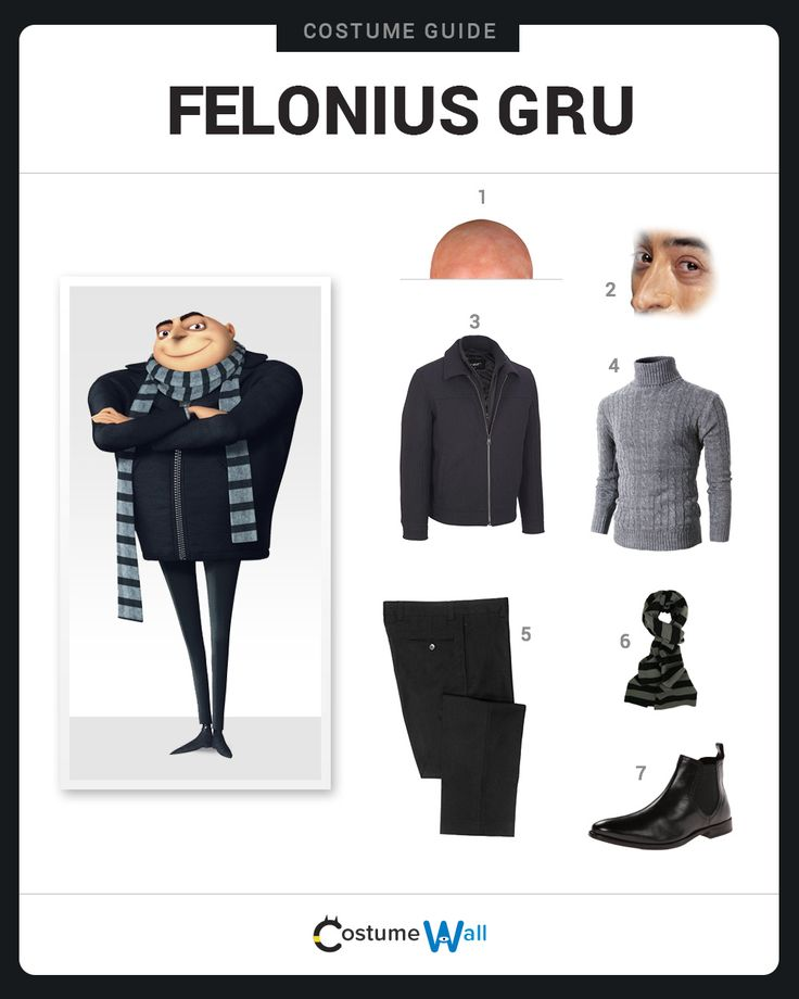 Dress Like Felonius Gru from Despicable Me. See additional costumes and cosplays of Gru.