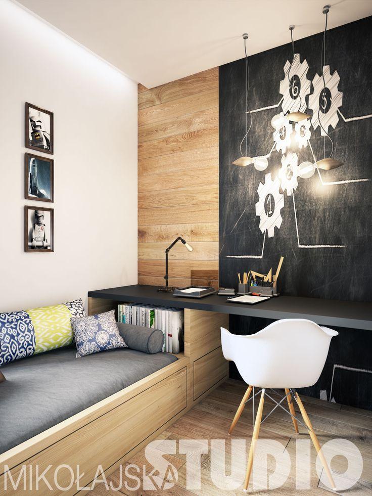 rozwiazanie z przeciągnięciem blatu biurka nad łóżko i półeczkami