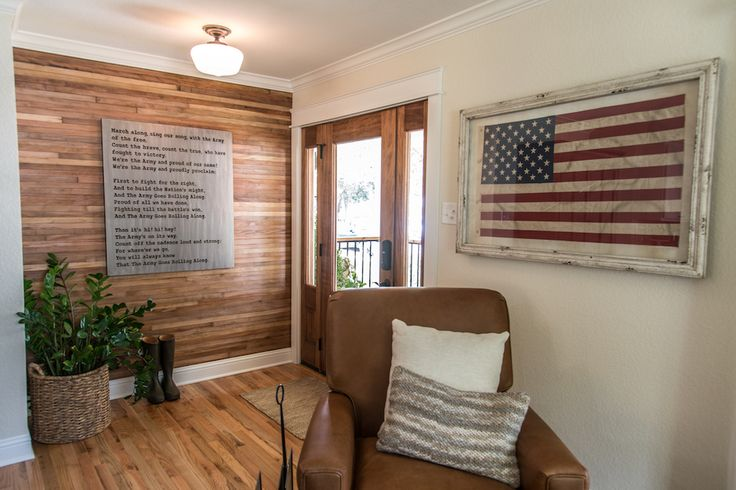 Fixer Upper - American flag, metal Army song sign, plank wall from original hardwoods