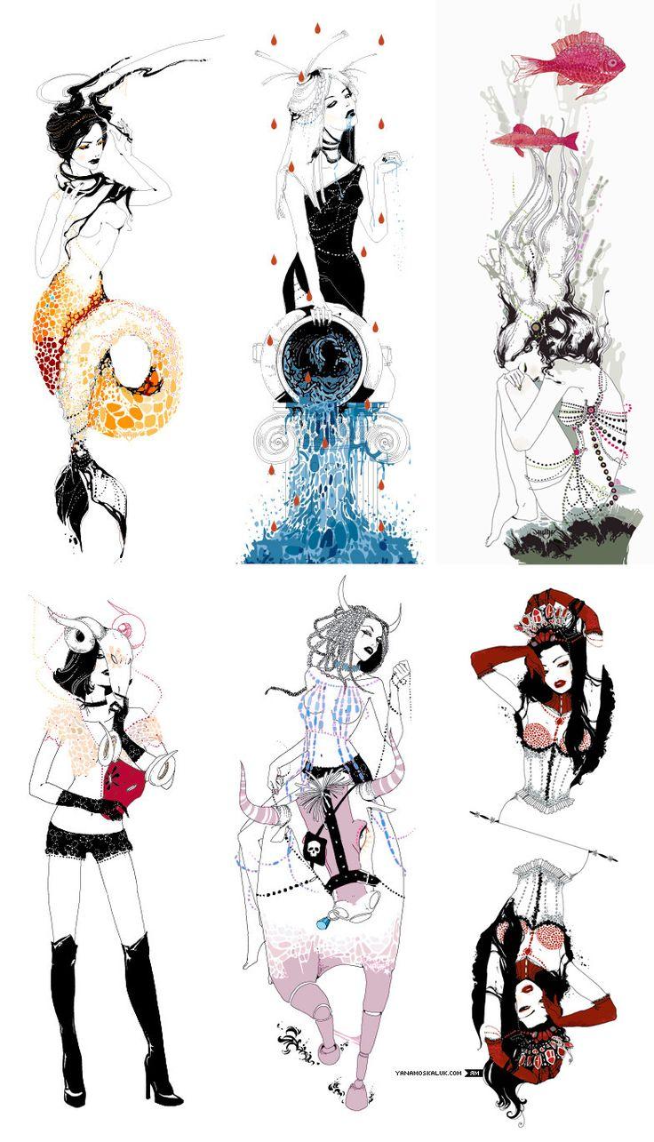 horoscope, part I  illustrations for a magazine by yana moskaluk