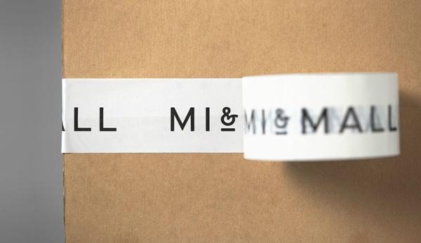 Mi and Mall identity and box tape designed by Atipo.
