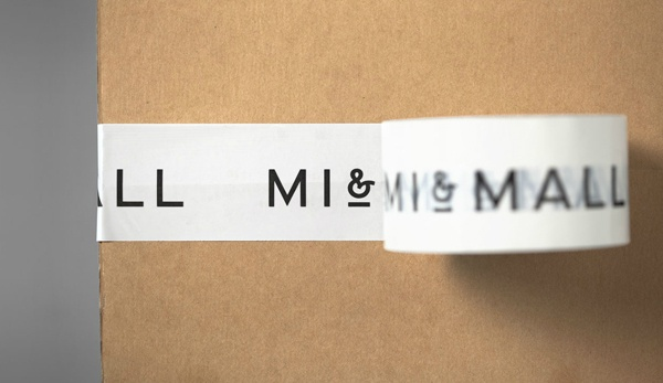 Mi and Mall identity and box tape designed by Atipo.