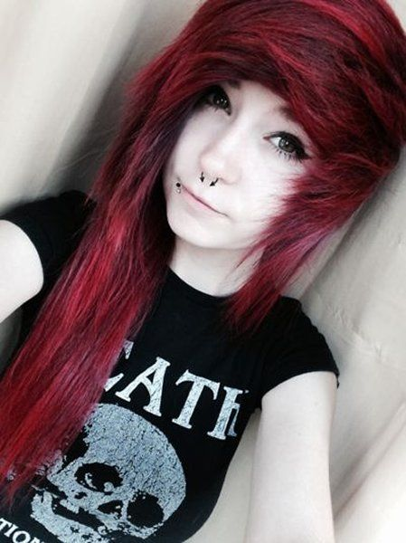 emo girls | 10 Beautiful Emo Hairstyles For Girls - Red Emo Hair Cut