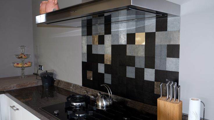 Pure Tiles Mix with Aged Iron, Raw Metal and White Bronze. More Pure Tiles on www.dauby.com