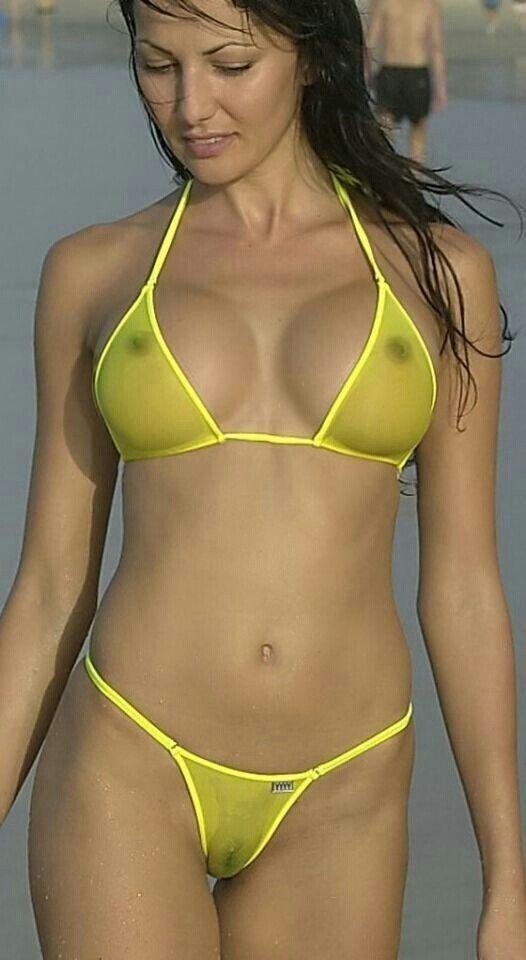 Yellow bikini see through what that