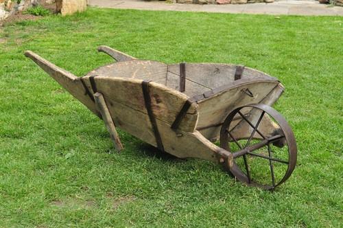 old  original vintage wooden wheelbarrow barrow