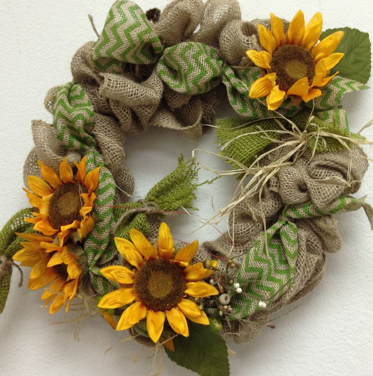 13 Best Sunflower Burlap Wreath Images On Pinterest