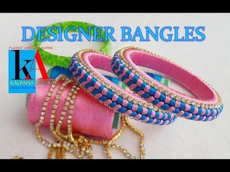 making of silk thread designer bangles - fish bone knot design bangles - YouTube
