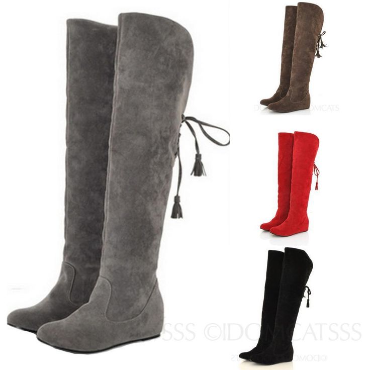 Winter Womens Booties Furry Fashion Shoes Slip On Thigh Length Boots Size 4-10