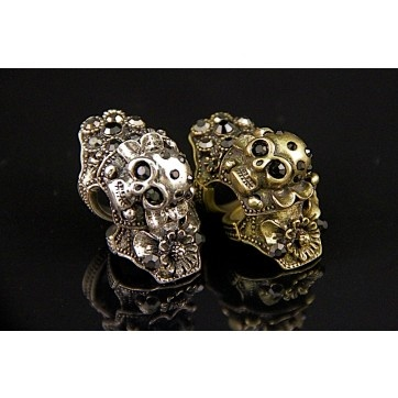 Skull Knuckle Ring with Rhinestones, $25.