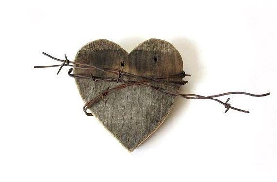 Shy Wild Heart - rustic wedding decor . rustic sign . barn wood sign . barbed wire . wedding gifts . cowgirl cowboy
