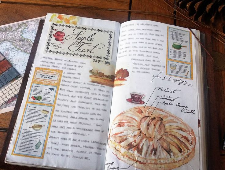 fall is just the perfect time to bake a pie/tart and share with the love one. #whatsinmynotebook #travelersnotebook #tn #midori #journal #artjournal #apple #appletart #fall #autumn #treat #dessert #watercolor #washitape #mt #stationery #stationerylove #手帳 #文具控 #文房具 #食譜mt #紙膠帶
