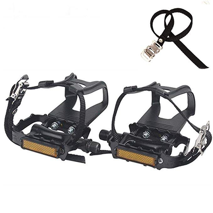 Namucuo Bike Pedals With Clips And Straps For Spin Bike Exercise Bike And Outdoor Bicycles 9 16 Inch Spind Indoor Stationary Bike Bike Pedals Bicycle Pedals