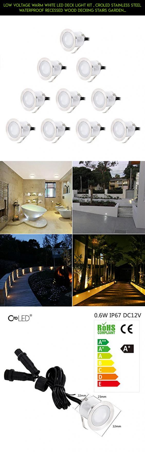 low voltage interior lighting kits%0A Low Voltage Warm White LED Deck Light Kit   CroLED Stainless Steel  Waterproof Recessed Wood Decking