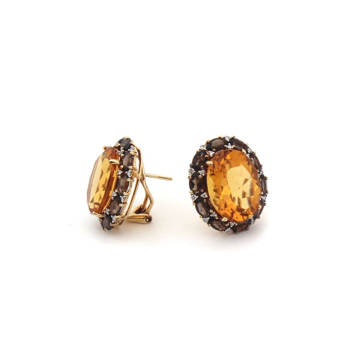 EAU DE VIE EARRINGS | Made from a selection of the highest quality citrine, smokey quartz and diamonds using 18 karat yellow gold. | #Heirloom #GiftIdea #Celebration #Family