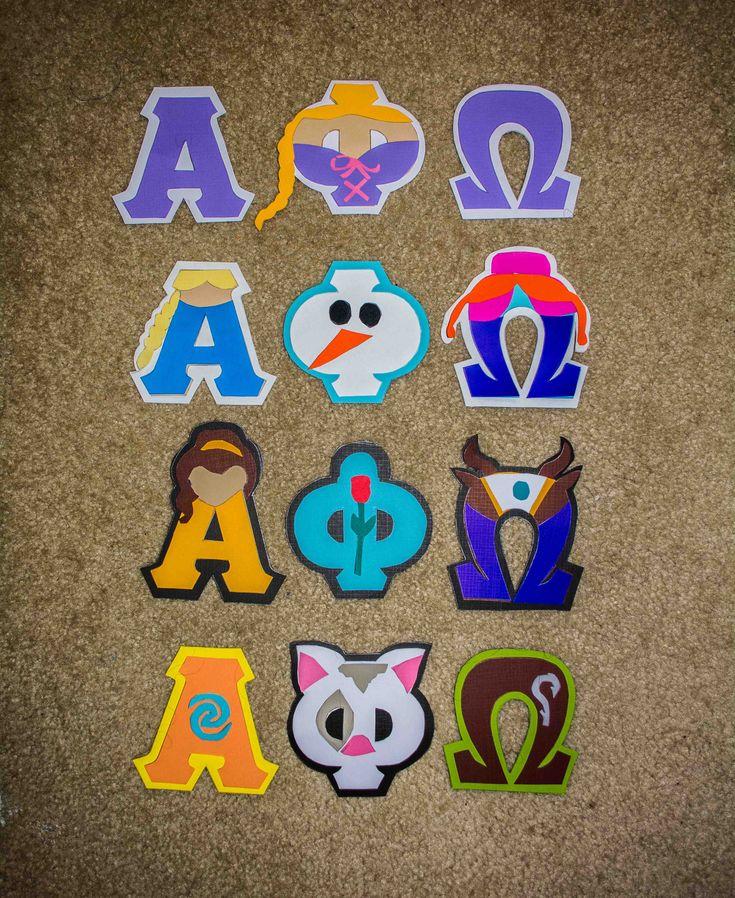Disney Princess Alpha Phi Omega letter stencils | Alpha ...