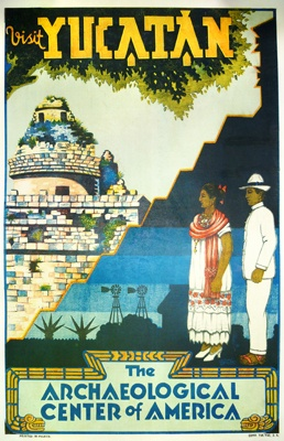 ✢ STYLE ✢ Viva Mexico | Travel Poster Visit Yucatan (c. 1930) by Aguilar