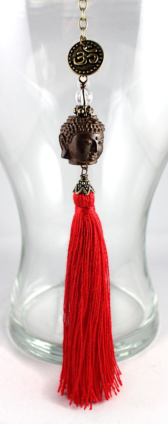 Buddha car charm with tassel, perfect rear view mirror charm for all yogis and yoginis! Tassel colour choice: red, olive, gold, purple, teal
