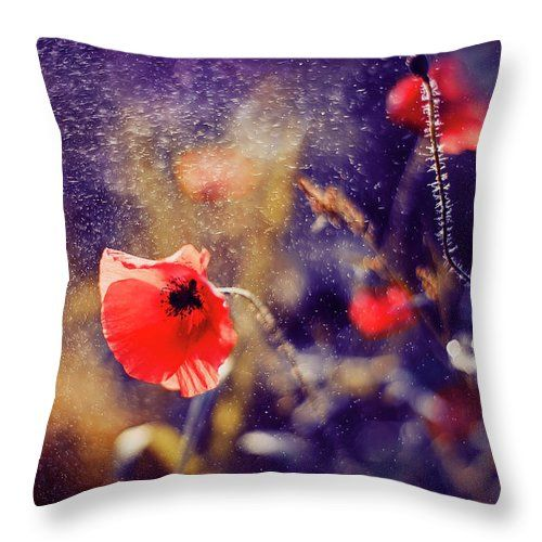 Throw Pillow featuring the photograph Red Poppy On Violet by Oksana Ariskina. A red poppy flower in a sparkling bokeh violet sunny abstract background. Available as mugs, posters, greeting cards, phone cases, throw pillows, framed fine art prints, metal, acrylic or canvas prints, shower curtains, duvet covers with my fine art photography online: www.oksana-ariskina.pixels.com #OksanaAriskina