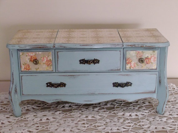 Distressed Chic Dresser Jewelry Box in Farmhouse Duck by Eweniques, $110.00