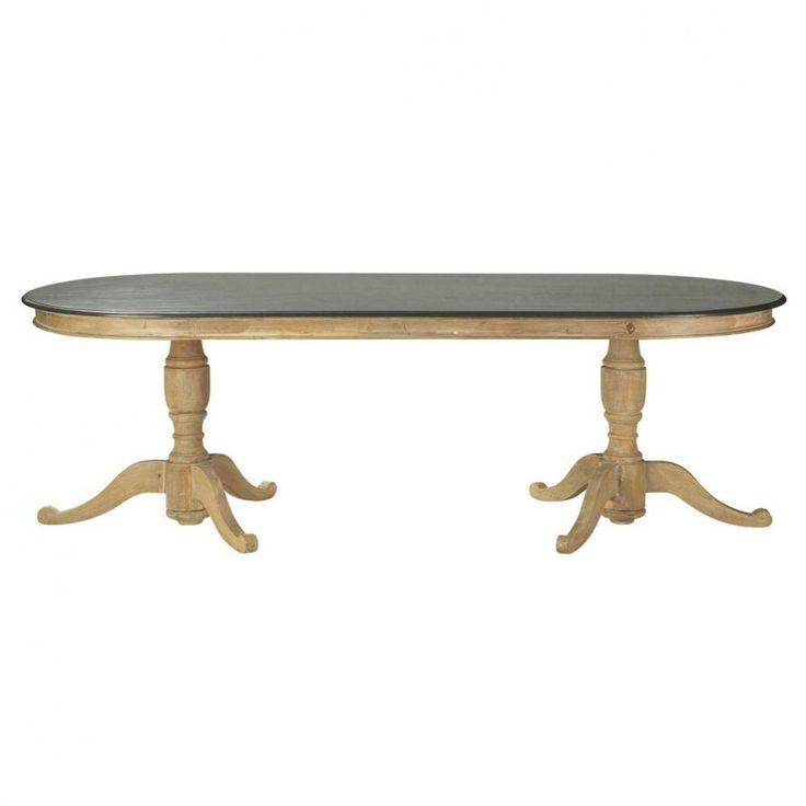 Table de salle à manger en manguier grise effet vieilli L 240 cm Montaigne