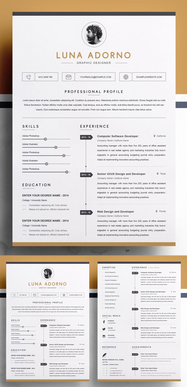 Professional Clean Resume Template With Images Resume Design