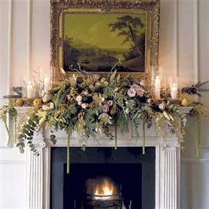 Christmas Mantel Idea: Mantles Decor, Fireplaces Mantles, Fireplaces Mantels, Decor Ideas, Mantel Decor, Fresh Flowers, Christmas Decor, Christmas Mantles, Christmas Mantels
