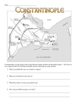 This Download Features A 4 Page Worksheet On Constantinople And The