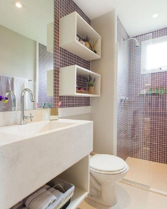 17 melhores ideias sobre Banheiros Pequenos Com Pastilhas no Pinterest  Deco -> Fotos De Decoracao De Banheiro Pequeno Com Pastilhas