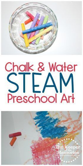Make chalk art! This awesome Artist Preschool Monthly Theme Chalk & Water Science & Nature STEAM Investigation Station is great for teaching little kids about chalk art, wet versus dry mediums, and even color mixing! #preschoolthemes #kidsactivities #STEAM #chalkart #waterplay