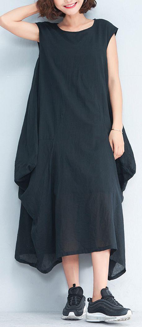 d567ba6f6eb boutique black linen caftans plus size sleeveless linen clothing dresses  Fine asymmetric kaftans