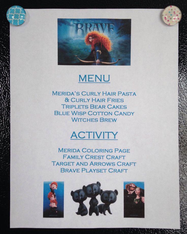 Brave Dinner Menu - Brave Movie Night - Disney Movie Night - Family Movie Night