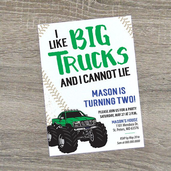 Monster Truck Birthday Invitation  Monster Truck Party Invite