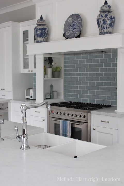 Blue and white kitchen, subway tiles, marble