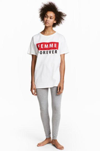 Üst ve Tayt Pijama Takımı - Beyaz/Gri kırçıllı - KADIN | H&M TR 1