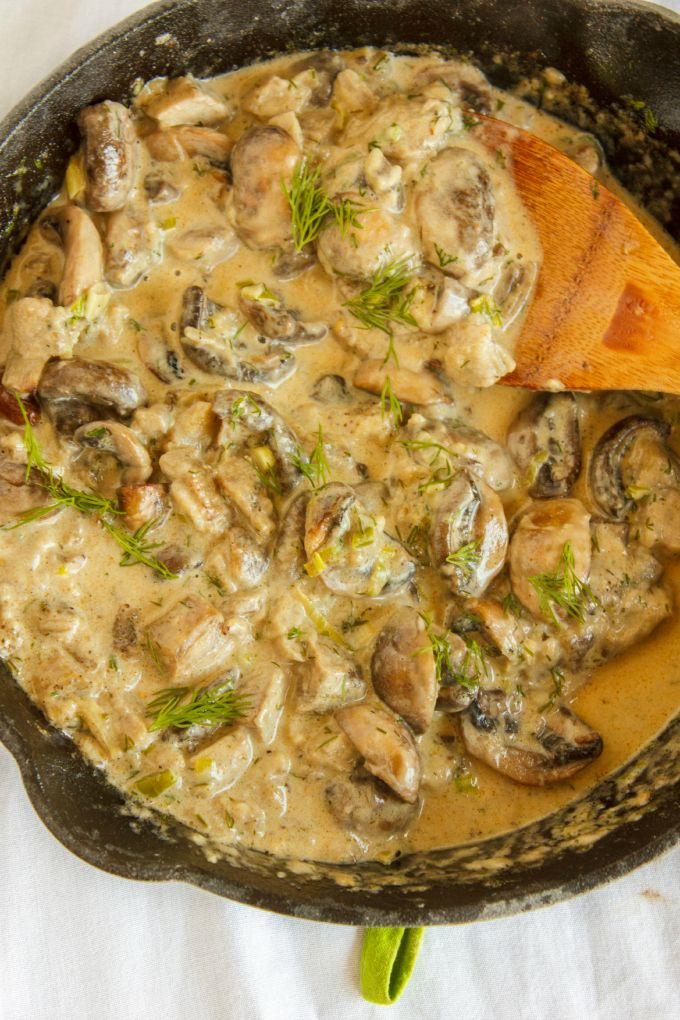 Roasted Mushrooms and Eggplant with Fresh Dill - substitute butter and cream with vegan alternatives.